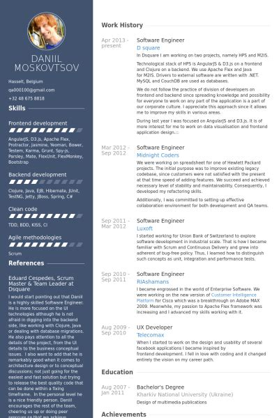 best resume template for software developer software engineer cv 214 rneği visualcv 214 zge 231 miş 214 rnekleri veritabanı