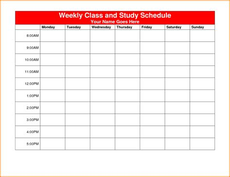 class calendar template weekly class schedule template authorization letter pdf