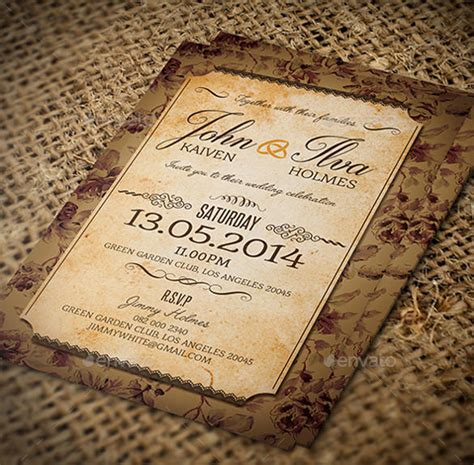 23  Vintage Wedding Invitation  Free PSD Format Download