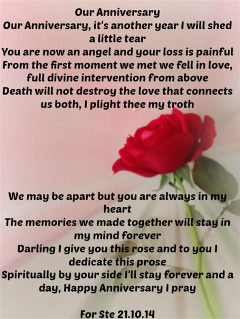 Wedding Anniversary Poems For Husband In Heaven by Our Anniversary The Grief Toolbox