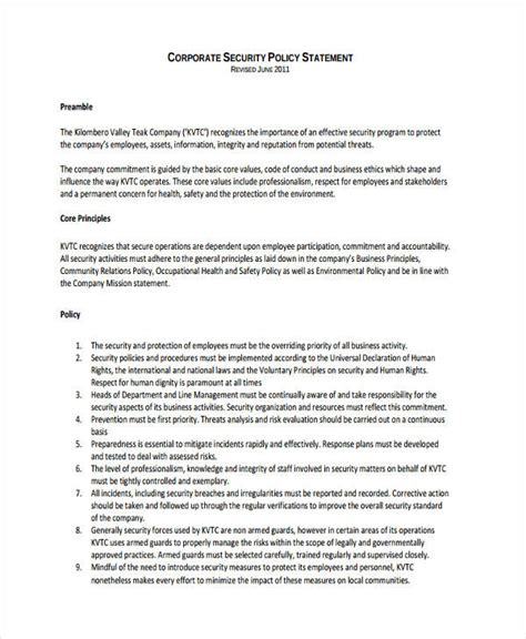 organizational security policy template security policy exles policy template 14 csp exles