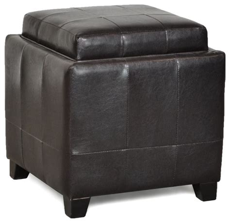 One Tray Espresso Cocktail Ottoman With Storage Cocktail Storage Ottoman With Trays