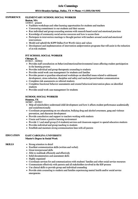 school social worker resume sles velvet