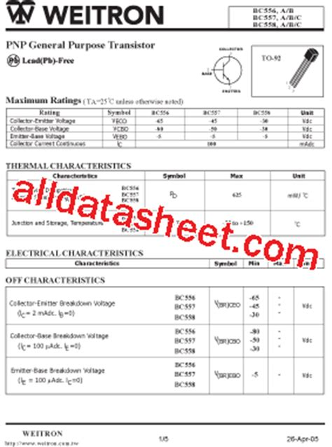 bc5508 transistor bc558 datasheet pdf weitron technology