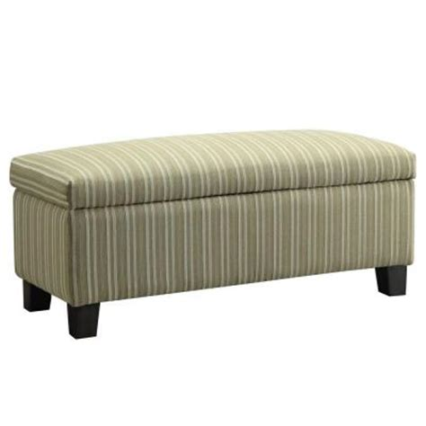 green storage bench homesullivan putnam green stripe fabric upholstered