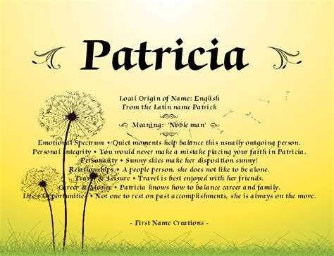meaning of first names patricia name meaning first name creations random