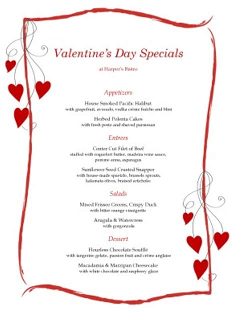 hearts menu valentine s day menus