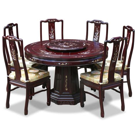 48in Rosewood Mother Of Pearl Design Round Dining Table Dining Table Set For 6