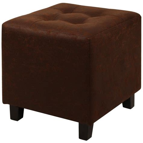 Brown Faux Leather Stool by Faux Leather Brown Ottoman Stool Dwc 252bn The Home Depot