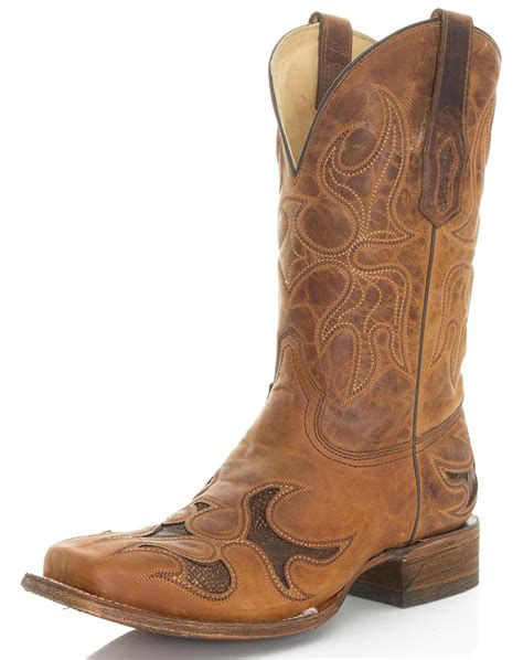 toe cowboy boots for corral s 12 quot square toe ostrich leg inlay cowboy boots