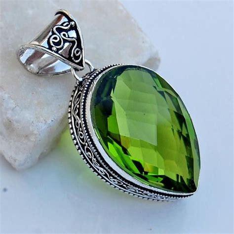 Green Peridot Quartz pear cut green peridot quartz gemstone 925 sterling silver