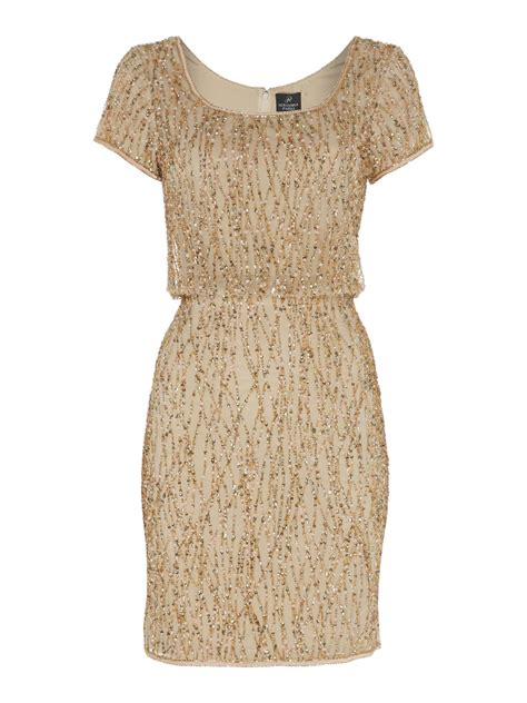 Papell Beaded Blouson Cocktail Dress In Gold
