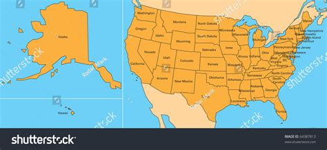 map of us states and hawaii map of united states including alaska and hawaii stock