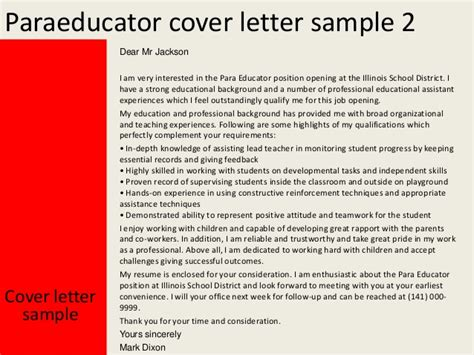 paraprofessional cover letter paraeducator cover letter