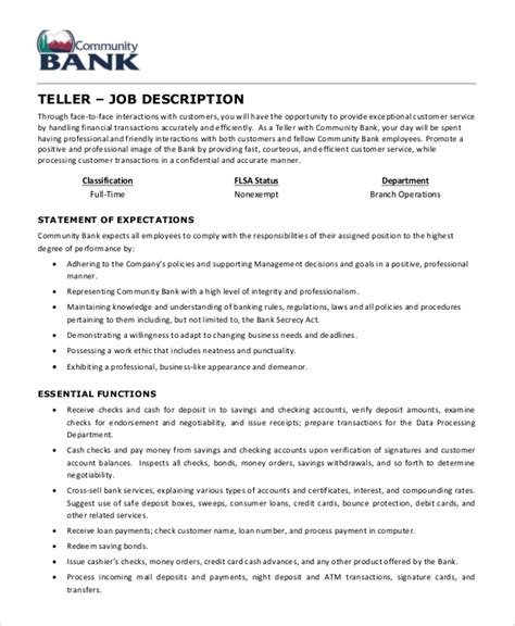 teller job description exle 5 free pdf documents