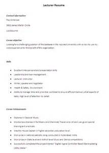 Sample Resume Format For Lecturer Job by Sample Resume December 2015
