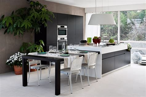 modern kitchen island table extendable dining table that can be tucked away into the kitchen island decoist