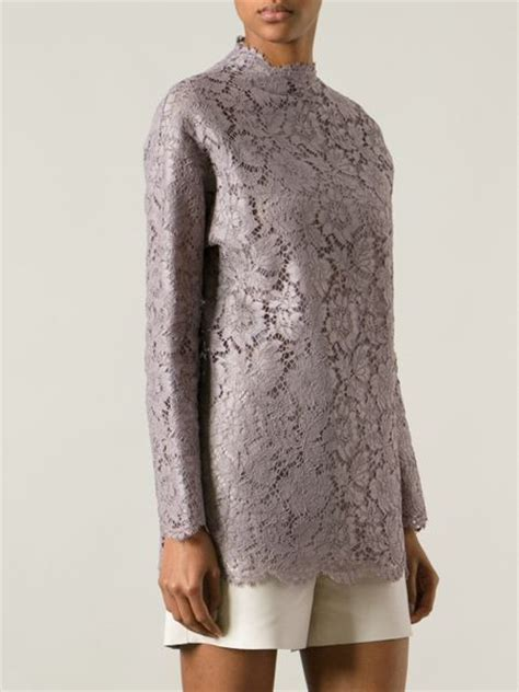 Blouse Lace Grey valentino lace blouse in gray grey lyst