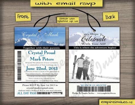 Ski Pass Wedding Invitations