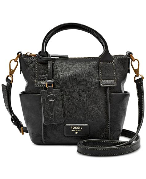 Fossil Satchel Black 1 lyst fossil emerson mini leather satchel in black