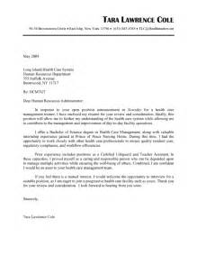 Cover Letter For Nursing Home by Cover Letter Exles For Nursing Home Administrators