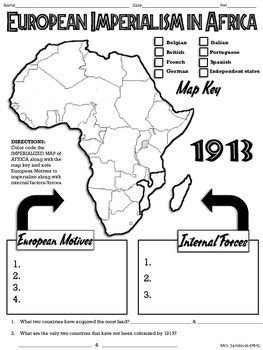Scramble For Africa Outline Map by European Imperialism In Africa Map Handout Tpt