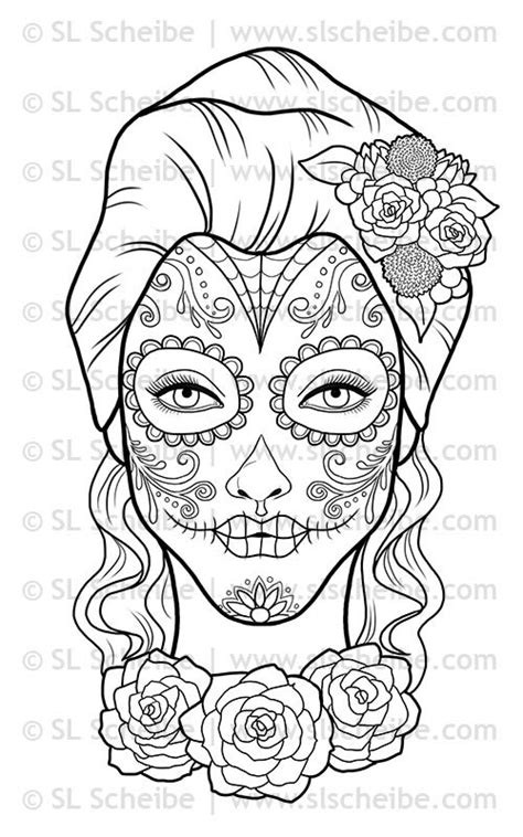 day of the dead sugar skulls coloring pages digital st day of the dead calavera girl by slslines on