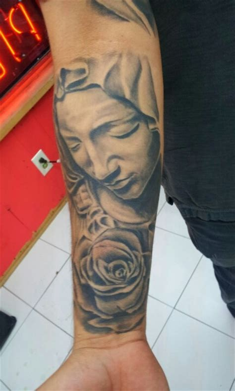 virgin mary and rose chest tattoo tattoos by adrian