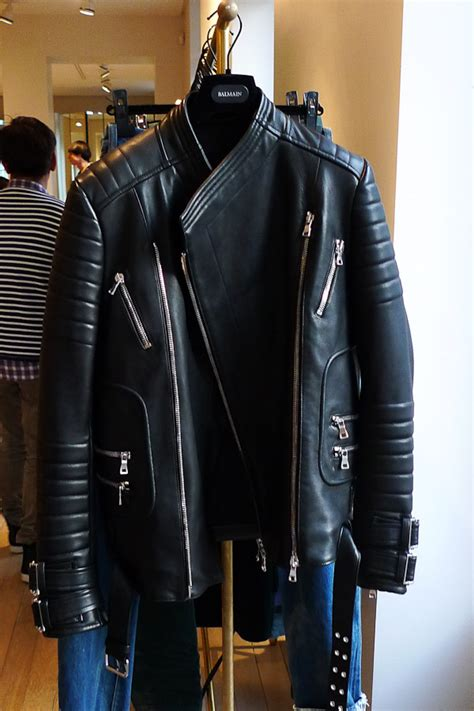 Balmainleather Biker Jacket of the day balmain black cotton linen biker jacket