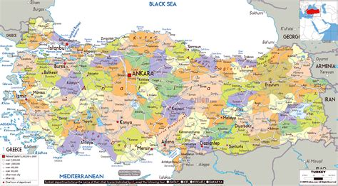 large political and administrative map of turkey with