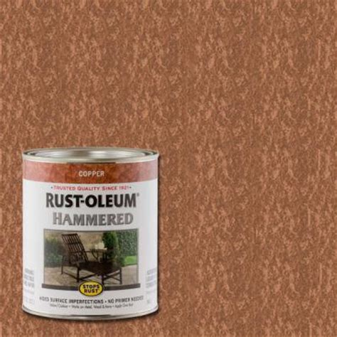 rust oleum stops rust 1 qt copper hammered rust preventive paint 239074 the home depot