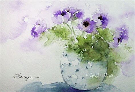 Watercolor Flowers In Vase by Purple Flowers In Blue Vase Print Of Watercolor By