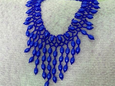 beaded choker necklace patterns free pattern for beautiful beaded necklace blue drops