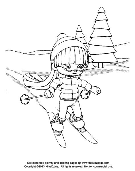 skiing coloring page az coloring pages