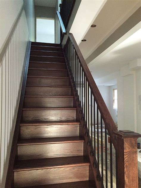 how to stain wood banister capping refacing box stair new stringers solid oak dark