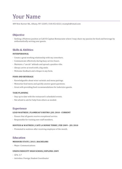 resume waitress exle free server resume exle