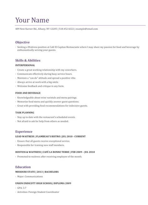 10 Waitress Resume Example   Writing Resume Sample