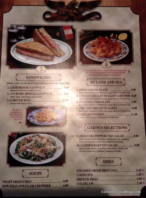 columbia harbor house menu review lighthouse and anchors aweigh sandwiches at magic kingdom s columbia harbour