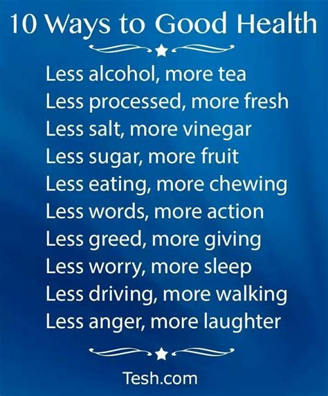 10 Words To Remember For A Healthy 10 ways to health by tesh things that can