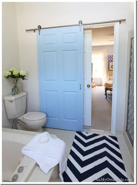 how to install a bedroom door bathroom gets a makeover using rolling door hardware inmyownstyle com