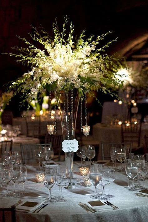 Tall, White Dendrobium Centerpiece   Event Planning