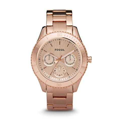 Fossil Rantai Rosegold Cover Black stella multifunction stainless steel