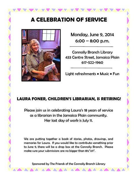 jp retirement logon celebrate 18 years of service by librarian foner
