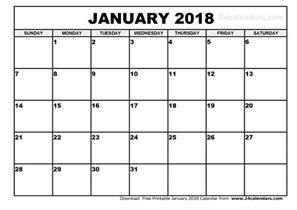 Calendar Template 2018 Free Printable January 2018 Printable Calendar Calendar Printable Free