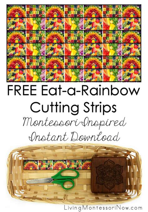 printable montessori cutting strips free eat a rainbow cutting strips archives living