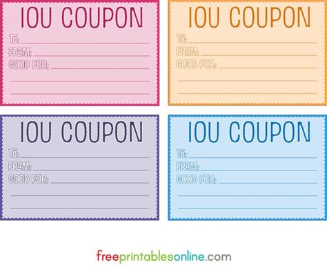 printable vouchers colorful free printable iou coupons diy pinterest