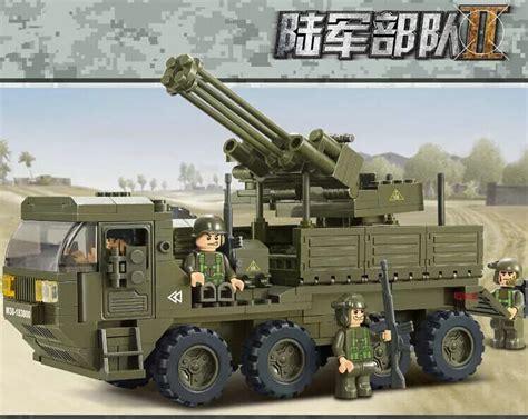 Set Ananti Green 306pcs set modern warfare army truck with an anti aircraft gun blocks