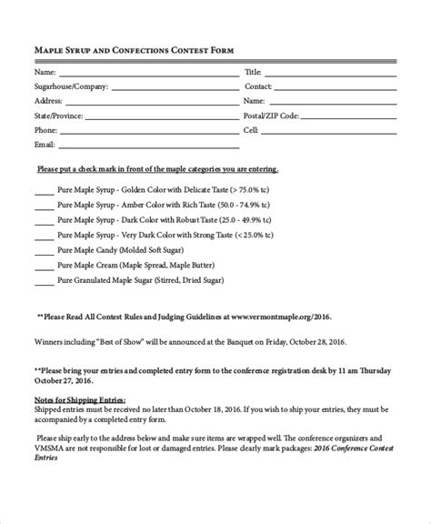 7 Sle Contest Forms Sle Templates Pageant Registration Form Template