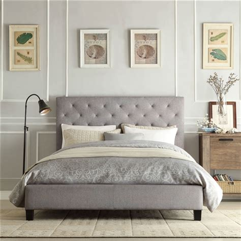 platform bed with tufted headboard size gray linen upholstered platform bed with button tufted headboard fastfurnishings