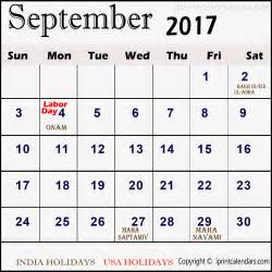 Calendar 2017 September Holidays Calendar With September 2017 Templates Tools